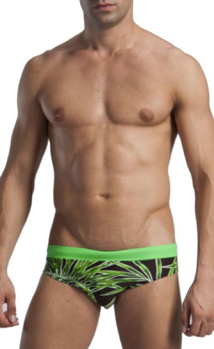 Men's Swimwear Low Rise Brief Trunks Brown Leaf pattern 1121s2